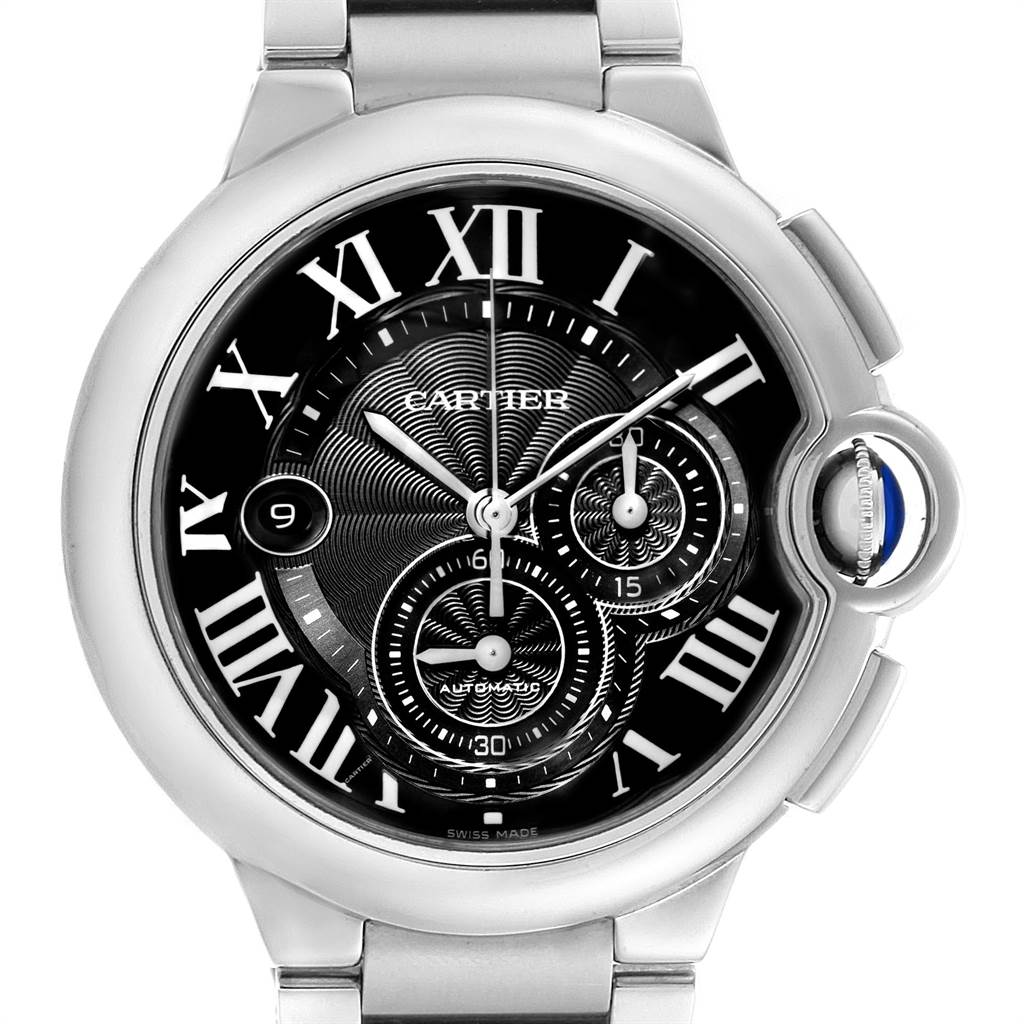 23204 Cartier Ballon Bleu XL Black Dial Chronograph Steel Mens Watch W6920077 SwissWatchExpo