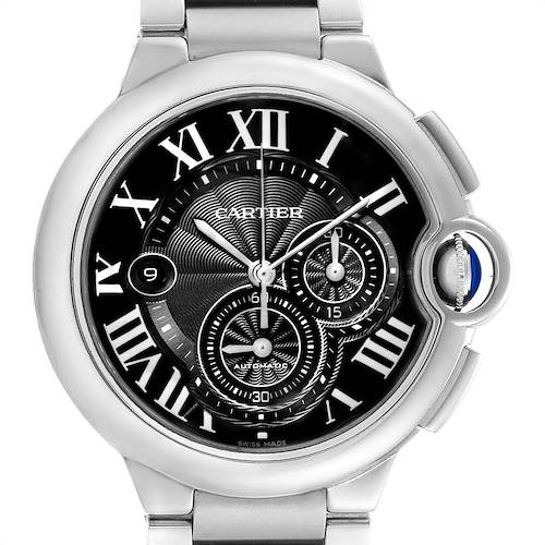 Photo of Cartier Ballon Bleu XL Black Dial Chronograph Steel Mens Watch W6920077