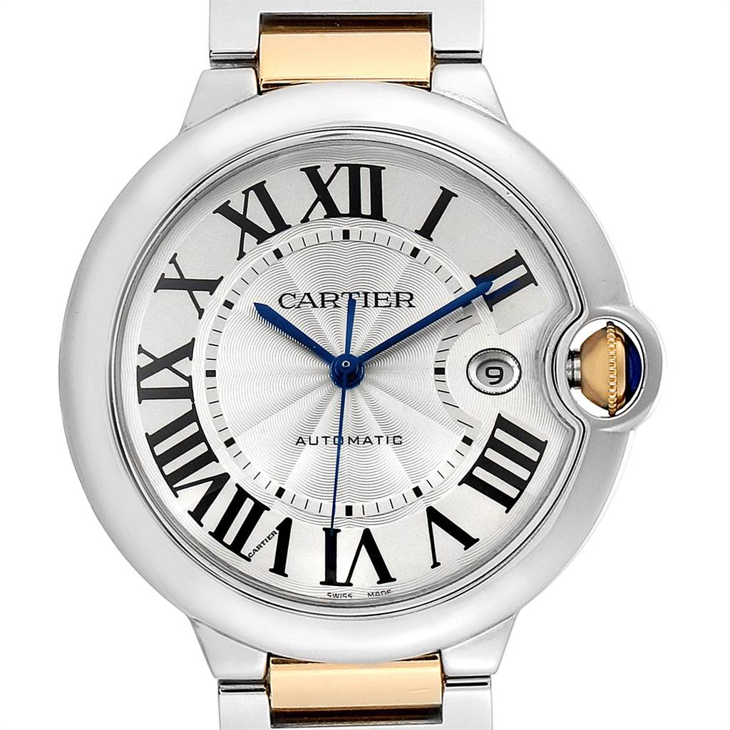 23307 Cartier Ballon Bleu Steel Yellow Gold Mens Watch W69009Z3 Box Papers SwissWatchExpo