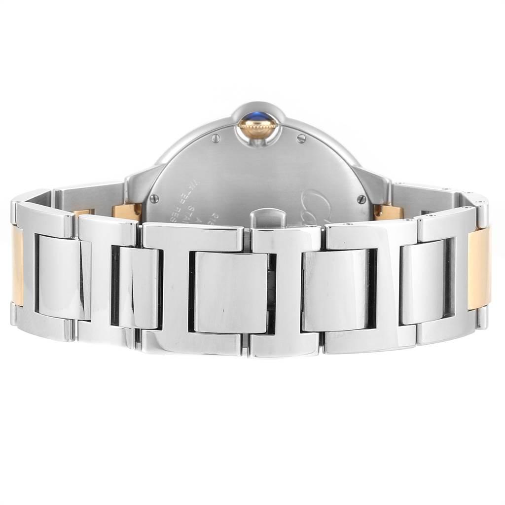23435 Cartier Ballon Bleu Silver Dial Steel Yellow Gold Mens Watch W69009Z3 SwissWatchExpo
