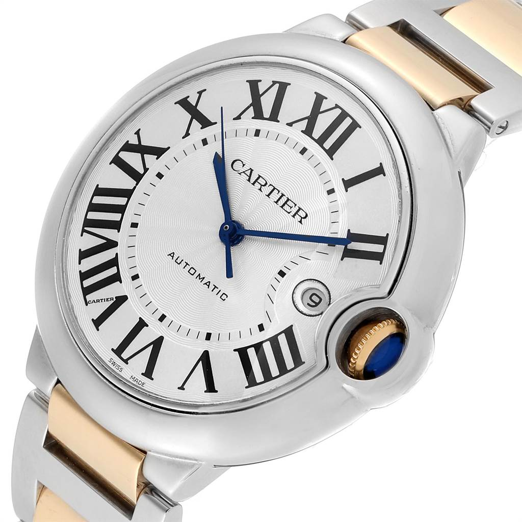 Cartier Ballon Bleu Silver Dial Steel Yellow Gold Mens Watch W69009Z3 SwissWatchExpo