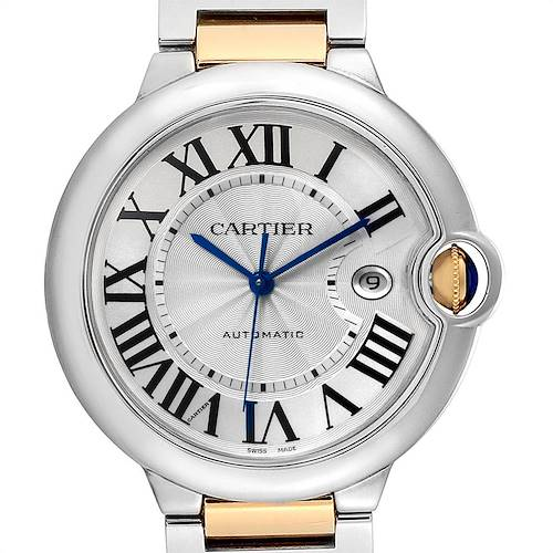 Photo of Cartier Ballon Bleu Silver Dial Steel Yellow Gold Mens Watch W69009Z3