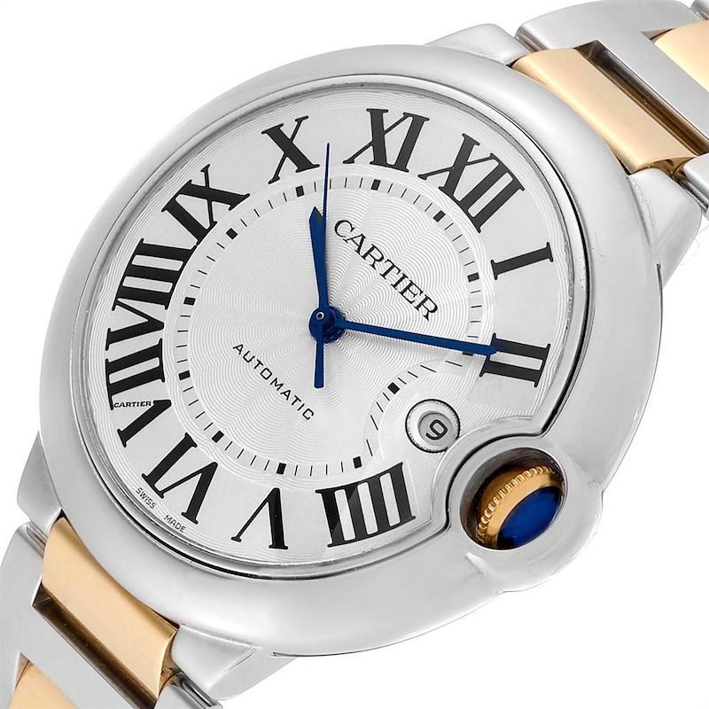 Cartier Ballon Bleu Silver Dial Steel Yellow Gold Mens Watch W69009Z3 SwissWatchExpo