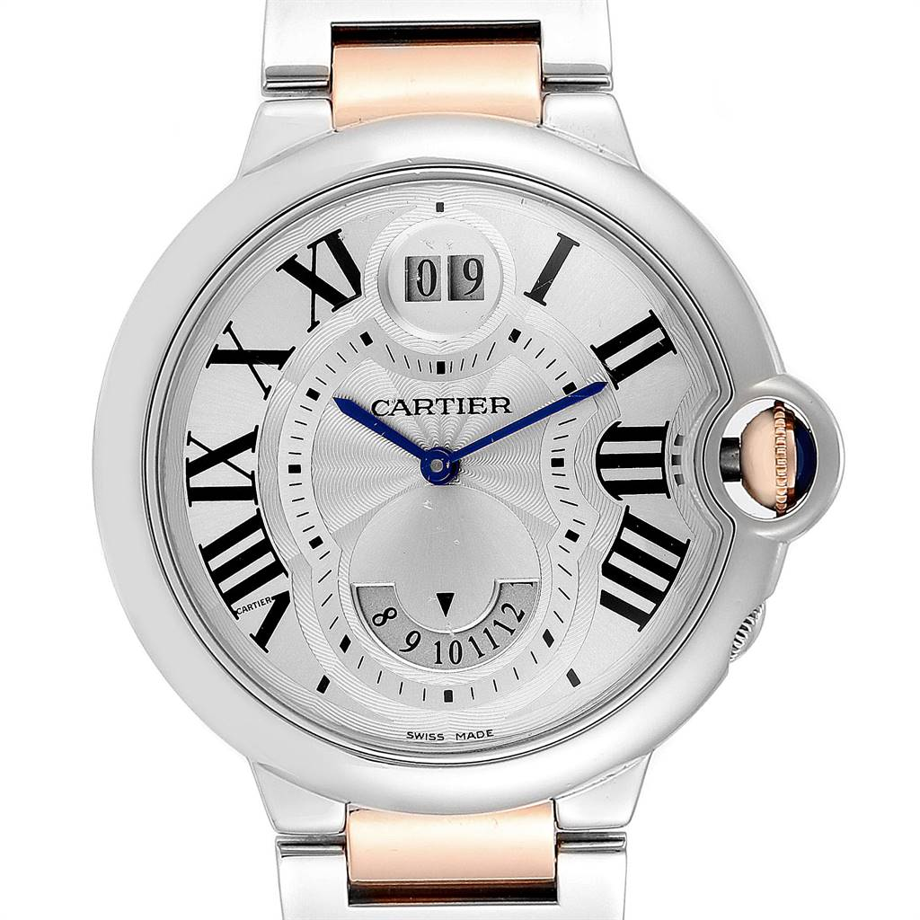 22704 Cartier Ballon Bleu Steel Rose Gold Two Time Zones Watch W6920027 SwissWatchExpo