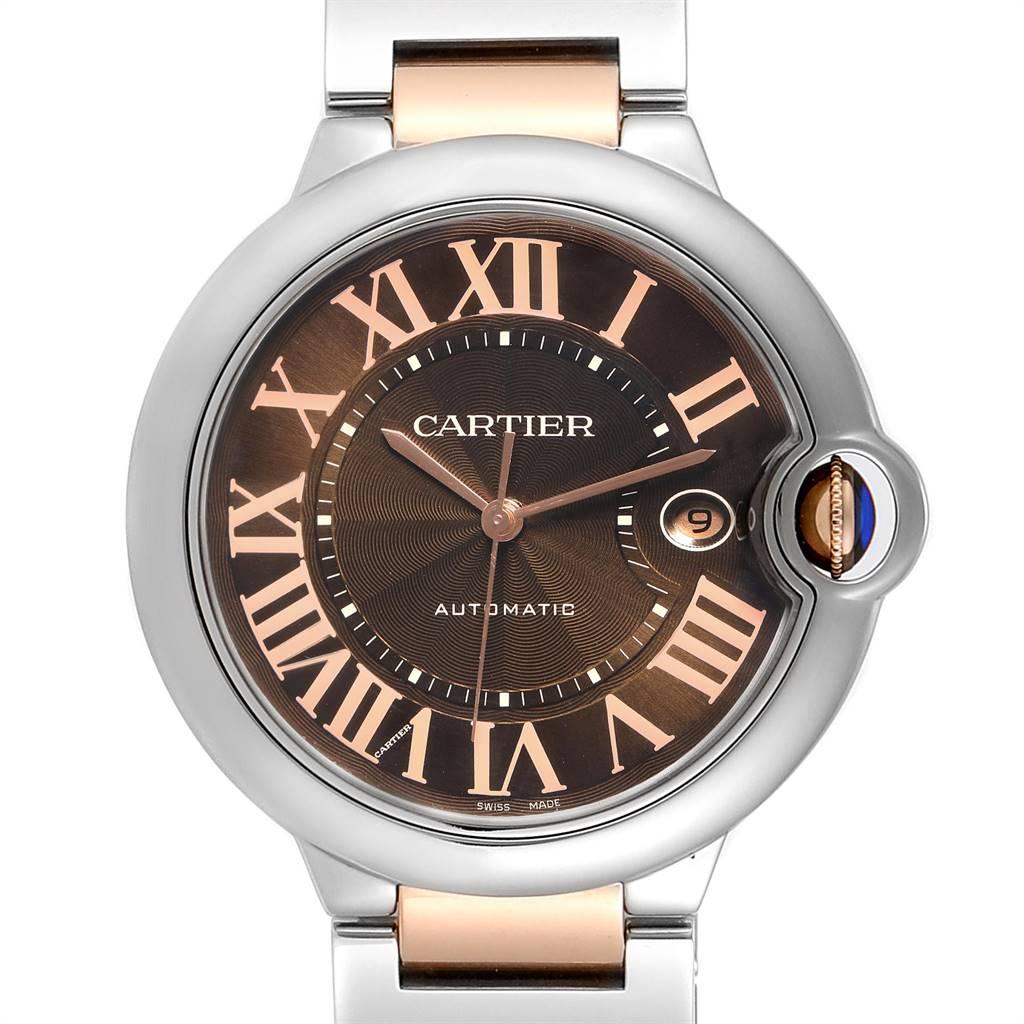 24329 Cartier Ballon Bleu Steel Rose Gold Chocolate Dial Unisex Watch W6920032 SwissWatchExpo