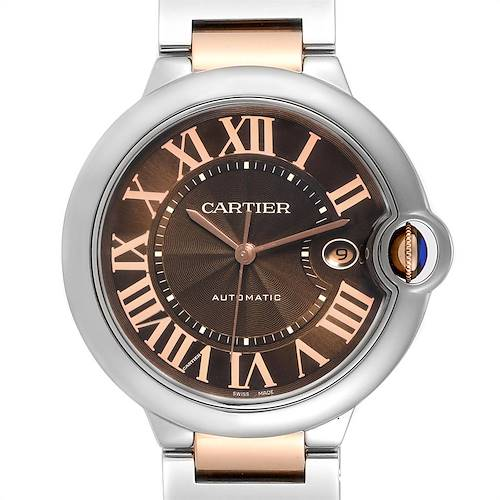 Photo of Cartier Ballon Bleu Steel Rose Gold Chocolate Dial Unisex Watch W6920032