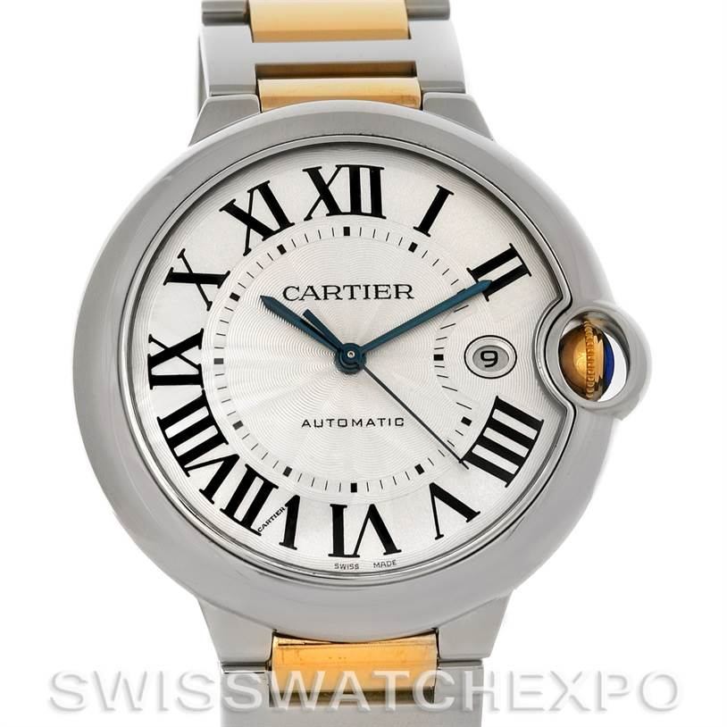 4384 Cartier Ballon Bleu Steel & Gold Men's Watch W69009Z3 SwissWatchExpo