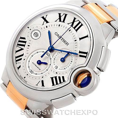 7767 Cartier Ballon Bleu Steel Mens Chronograph Watch W6920063 SwissWatchExpo