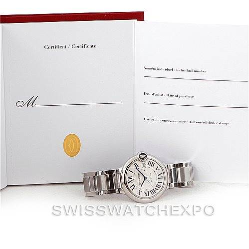 8018 Cartier Ballon Bleu Steel Mens Watch W69012Z4 Unworn SwissWatchExpo