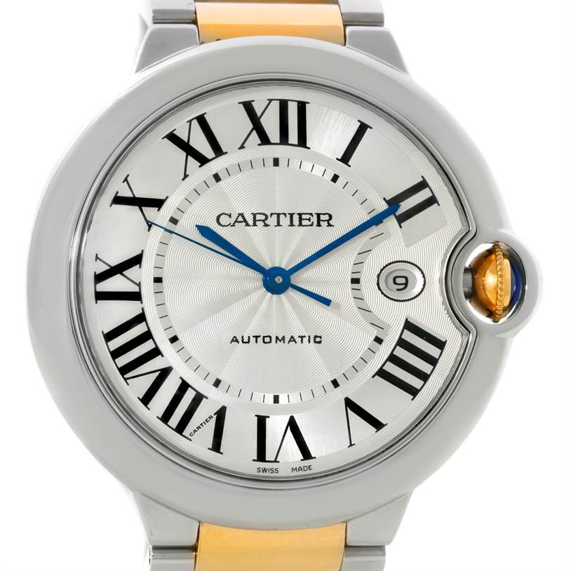 8858 Cartier Ballon Bleu Steel Gold Mens Watch W69009Z3 SwissWatchExpo