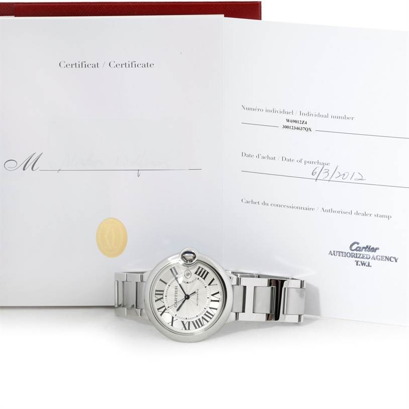 8838 Cartier Ballon Bleu Mens Stainless Steel Watch W69012Z4 SwissWatchExpo