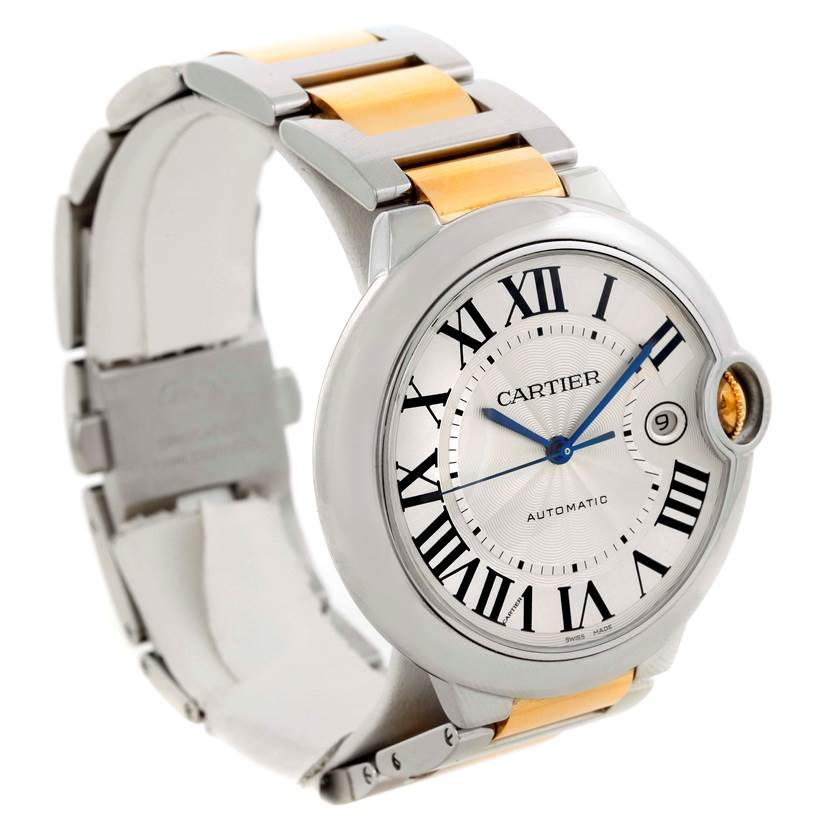 9713 Cartier Ballon Bleu Steel Yellow Gold Automatic Mens Watch W69009Z3 SwissWatchExpo