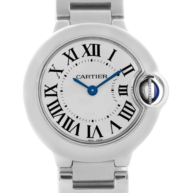 10835 Cartier Ballon Blue Stainless Steel Small Ladies Watch W69010Z4 SwissWatchExpo