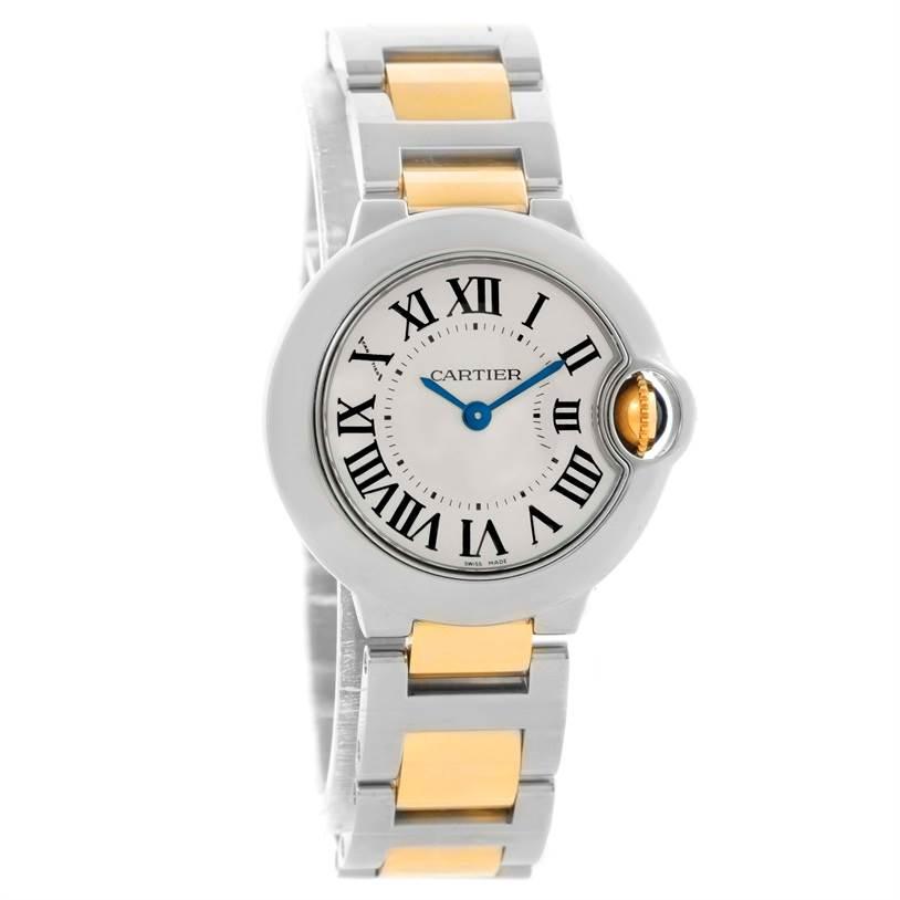 11425 Cartier Ballon Blue Steel 18K Yellow Gold Small Watch W69007Z3     SwissWatchExpo