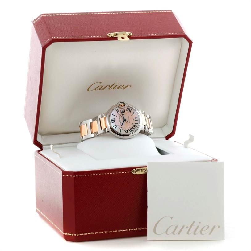 11206 Cartier Ballon Bleu Midsize Steel 18K Rose Gold Watch W6920070 SwissWatchExpo