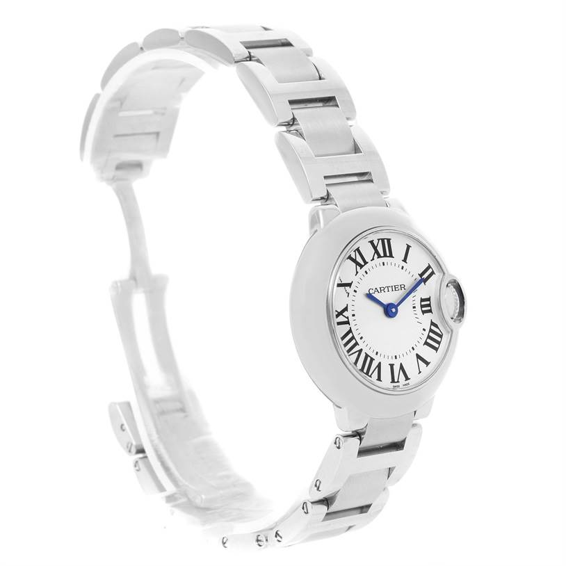 12205 Cartier Ballon Blue Stainless Steel Small Ladies Watch W69010Z4 SwissWatchExpo