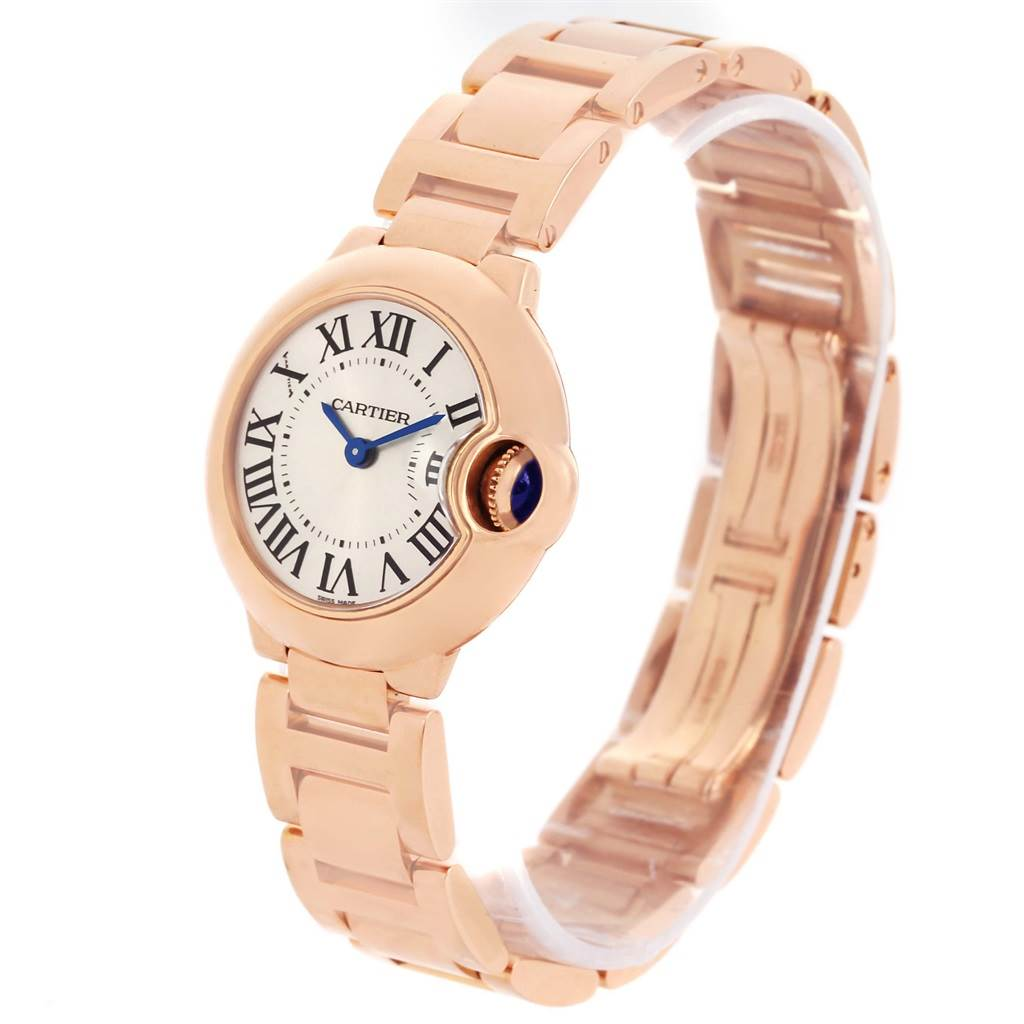 cartier ballon blue 18k rose gold small ladies watch w69002z2. Black Bedroom Furniture Sets. Home Design Ideas