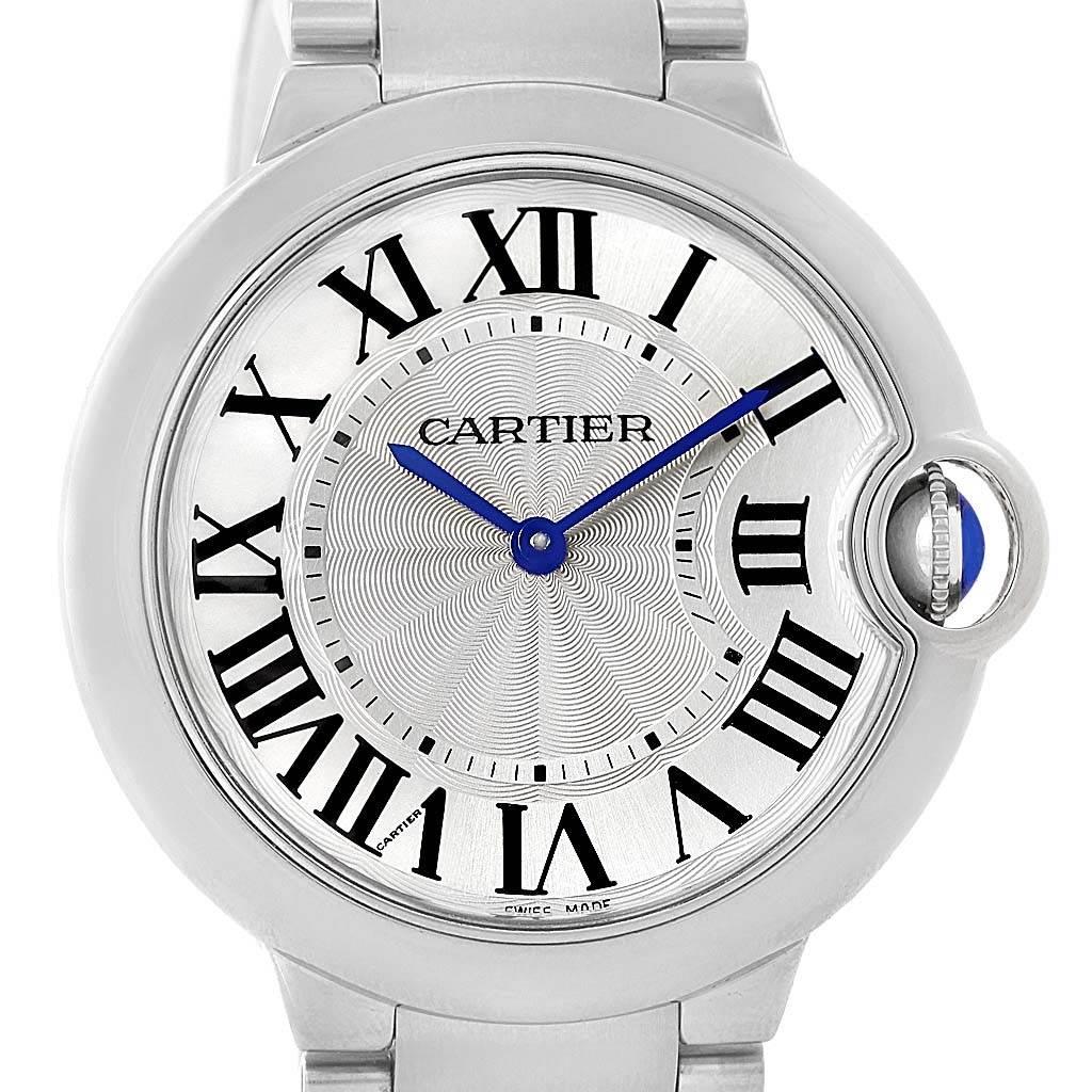 13622 Cartier Ballon Bleu Midsize Silver Guilloche Dial Watch W69011Z4 SwissWatchExpo