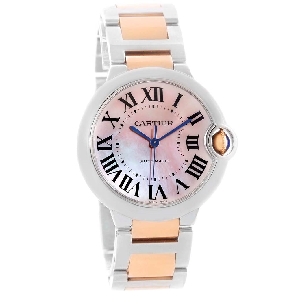 13766 Cartier Ballon Bleu Midsize Ladies Steel Rose Gold Watch W6920070 SwissWatchExpo