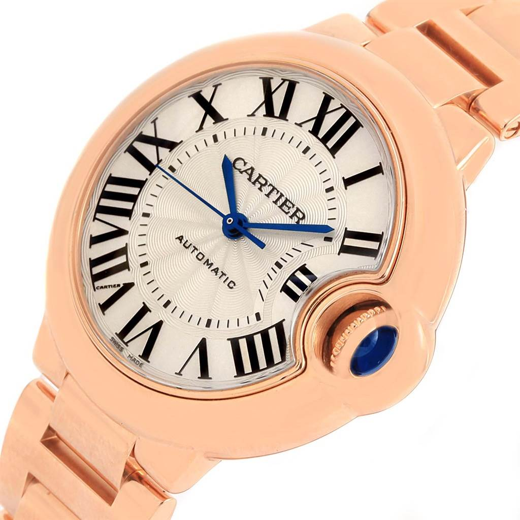 14895P Cartier Ballon Bleu Midzize 18K Rose Gold Silver Dial Watch W6920096  SwissWatchExpo