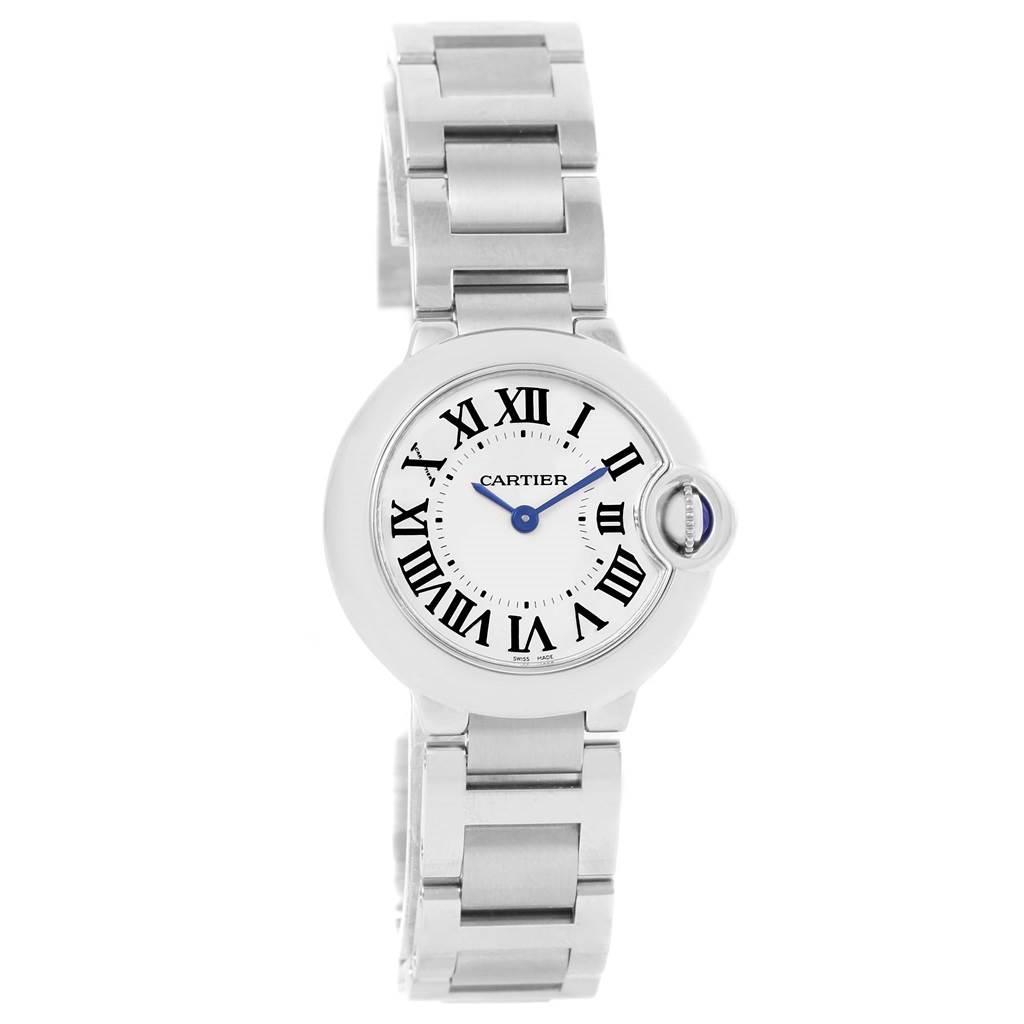 14392 Cartier Ballon Blue Stainless Steel Small Ladies Watch W69010Z4 SwissWatchExpo