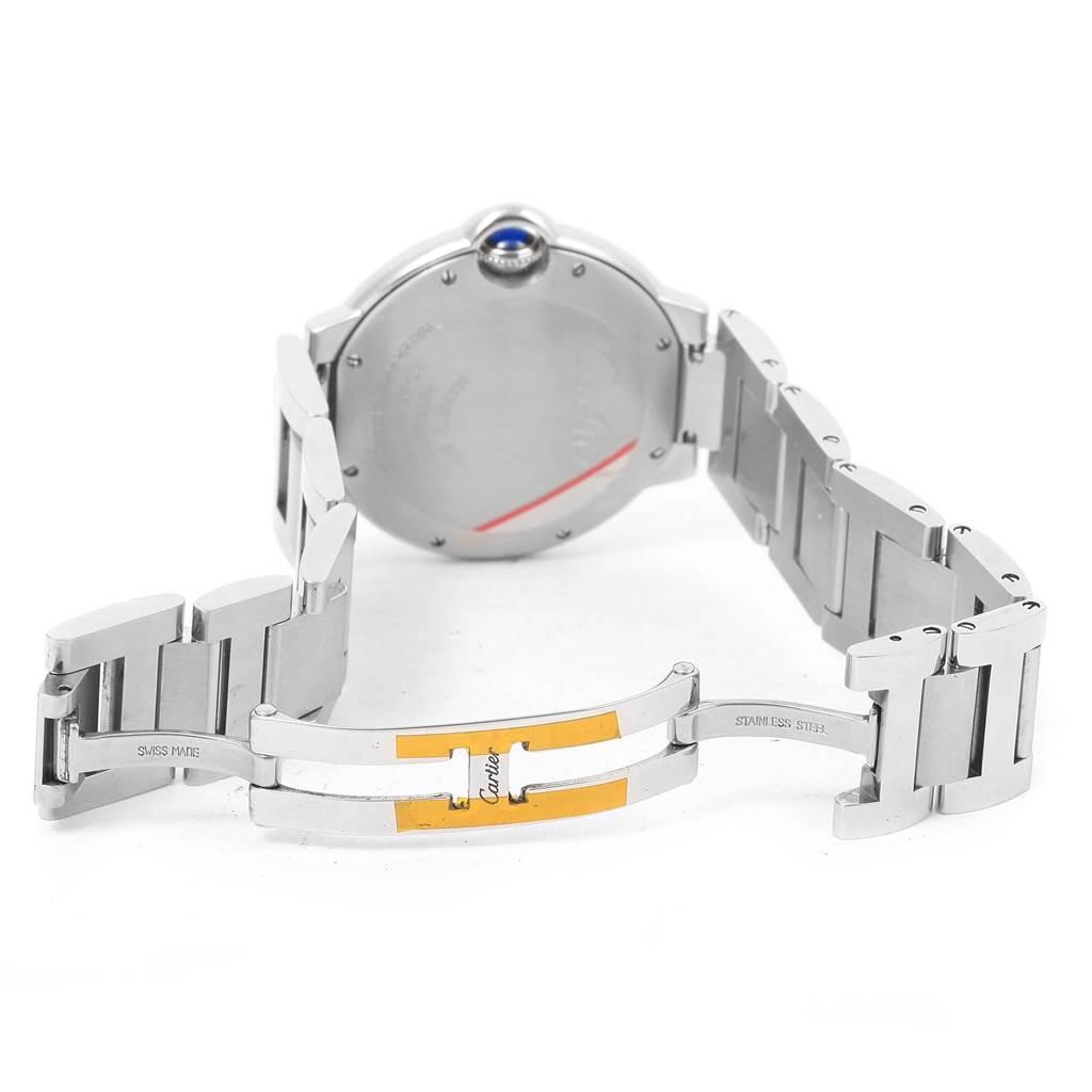 14965 Cartier Ballon Bleu Steel Midzize Silver Dial Watch W6920046 Box Papers SwissWatchExpo