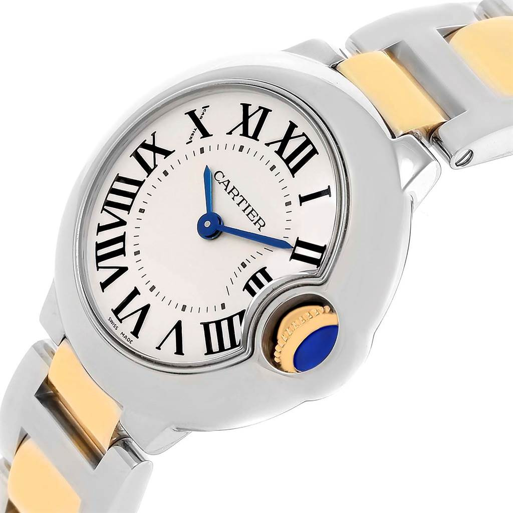 15326 Cartier Ballon Blue Steel Yellow Gold Small Watch W69007Z3 Box Papers SwissWatchExpo