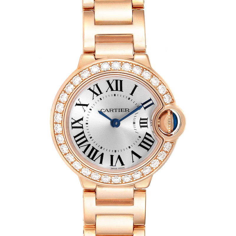 Cartier Ballon Bleu 29mm Rose Gold Diamond Ladies Watch WE9002Z3 Box Papers SwissWatchExpo