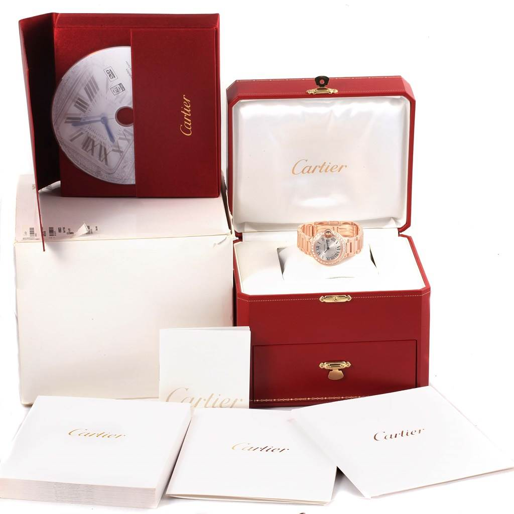 15880 Cartier Ballon Bleu Rose Gold Diamond Ladies Watch WE9002Z3 Box Papers SwissWatchExpo