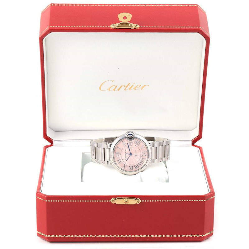 Cartier Ballon Bleu Midsize 36mm Pink Dial Steel Ladies Watch W6920041 SwissWatchExpo