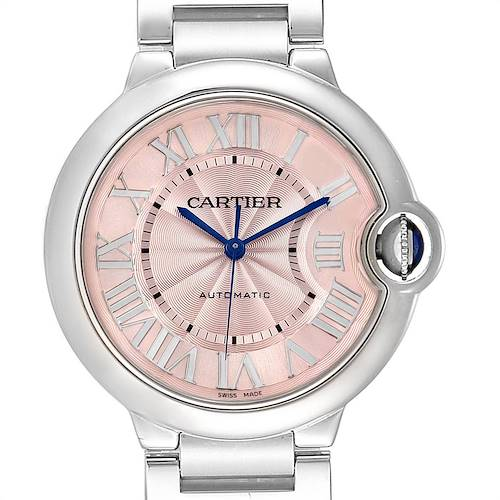 Cartier Ballon Bleu Midsize 36mm Pink Dial Steel Ladies Watch W6920041