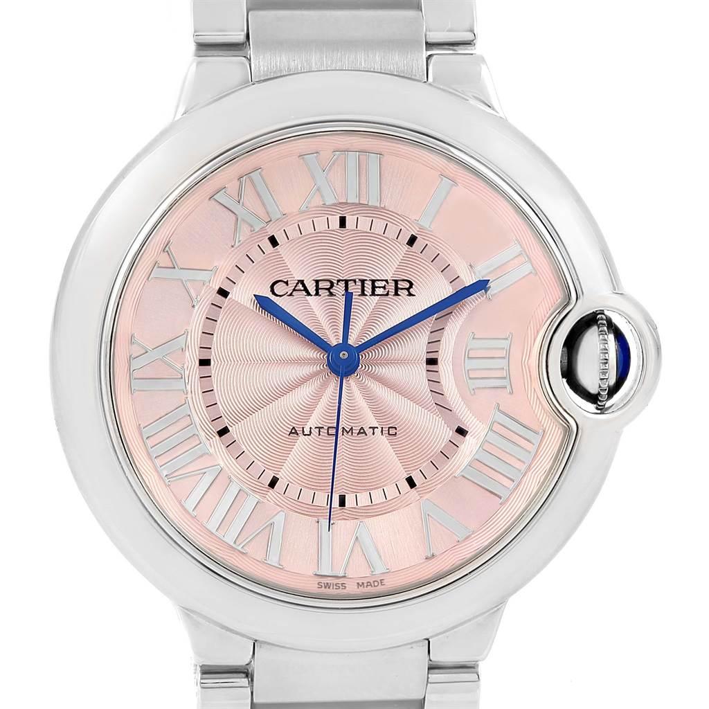 16928 Cartier Ballon Bleu Pink Dial Steel Ladies Watch W6920041 SwissWatchExpo