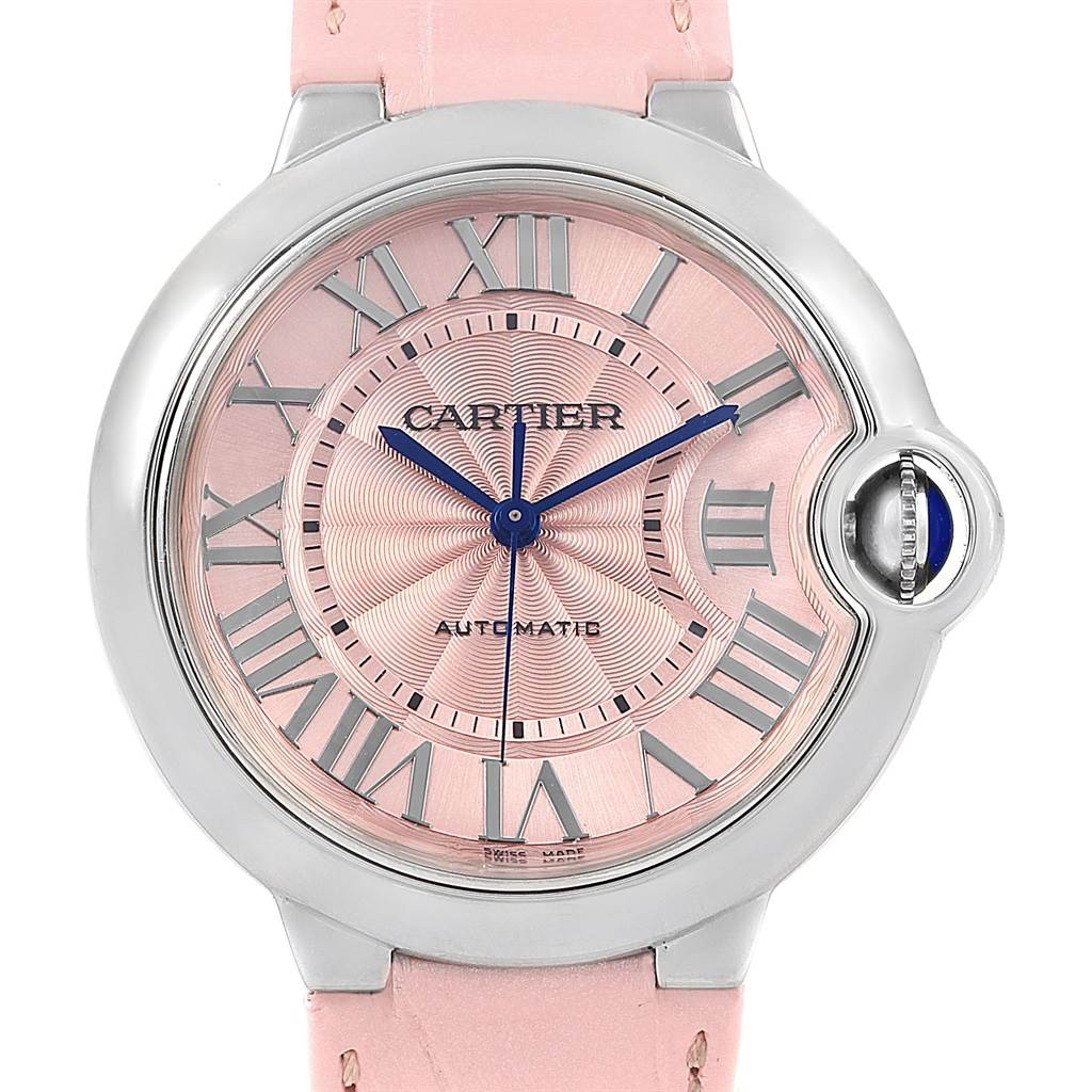 7b99b5629e60 ... 17360 Cartier Ballon Bleu Pink Dial Leather Strap Steel Ladies Watch  WSBB0007 SwissWatchExpo ...