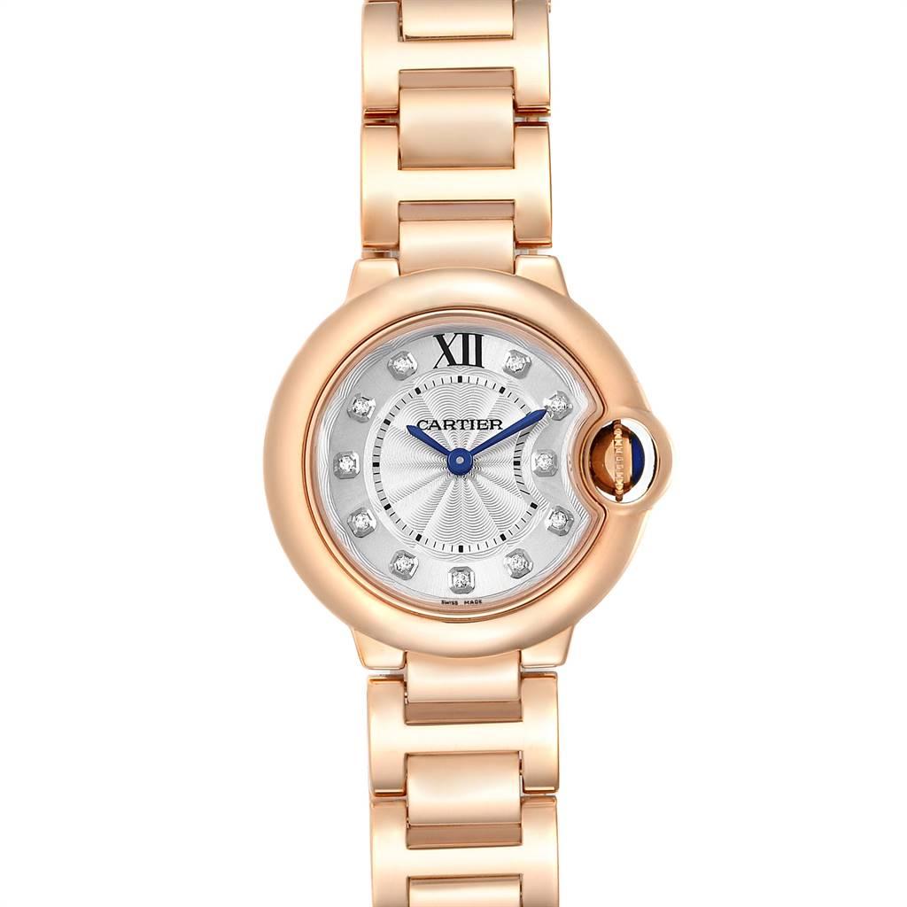 Cartier Ballon Bleu Rose Gold Silver Diamond Dial Ladies Watch WJBB0016