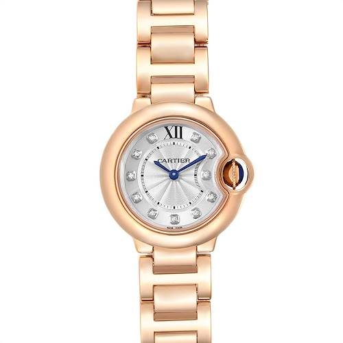 Photo of Cartier Ballon Bleu Rose Gold Silver Diamond Dial Ladies Watch WJBB0016