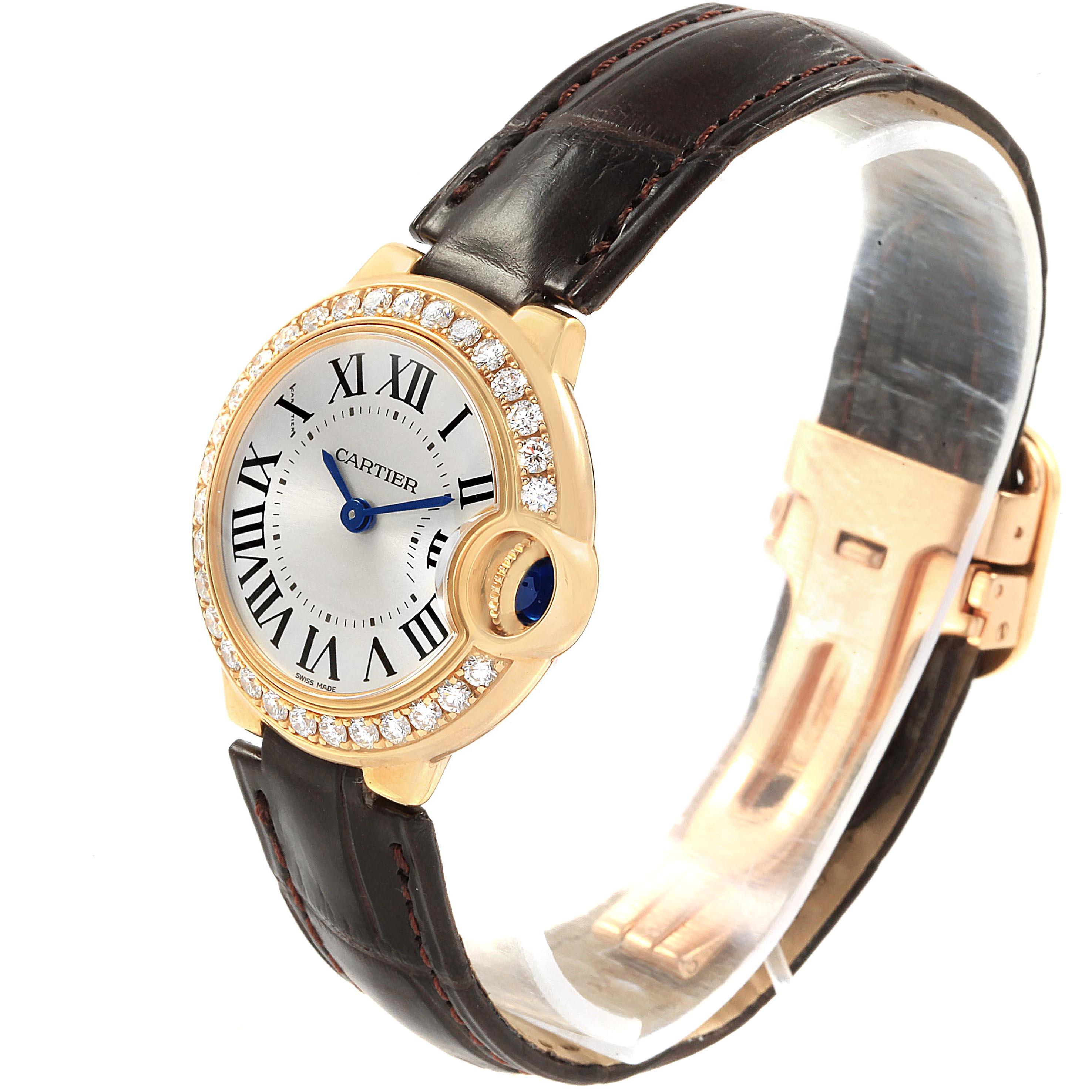 Cartier Ballon Bleu 28mm Yellow Gold Diamond Ladies Watch WE900151 Unworn SwissWatchExpo
