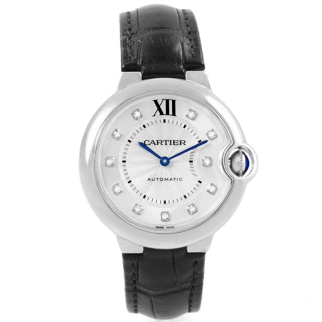 19787 Cartier Ballon Bleu 33 Midsize Diamond Steel Ladies Watch W4BB0009 SwissWatchExpo