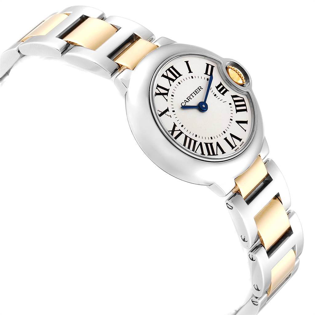 Cartier Ballon Blue Steel Yellow Gold Small Ladies Watch W69007Z3 SwissWatchExpo
