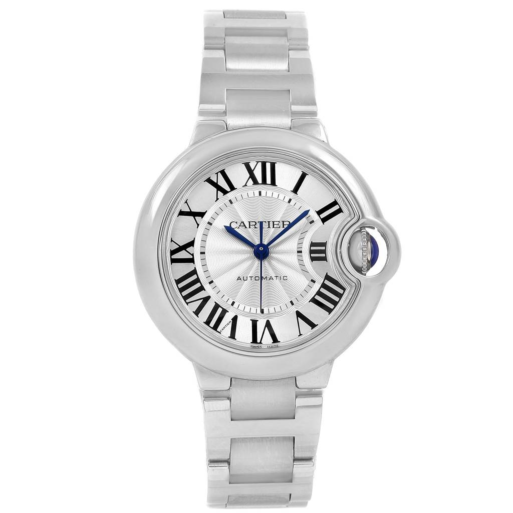 Cartier Ballon Bleu Steel Automatic Womens Watch W6920071 Box Papers SwissWatchExpo