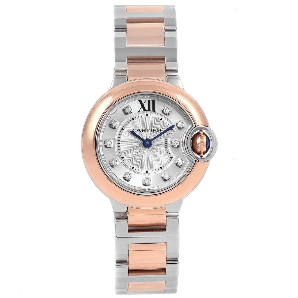 21431 Cartier Ballon Blue 28 Steel Rose Gold Diamond Ladies Watch W3BB0005 SwissWatchExpo