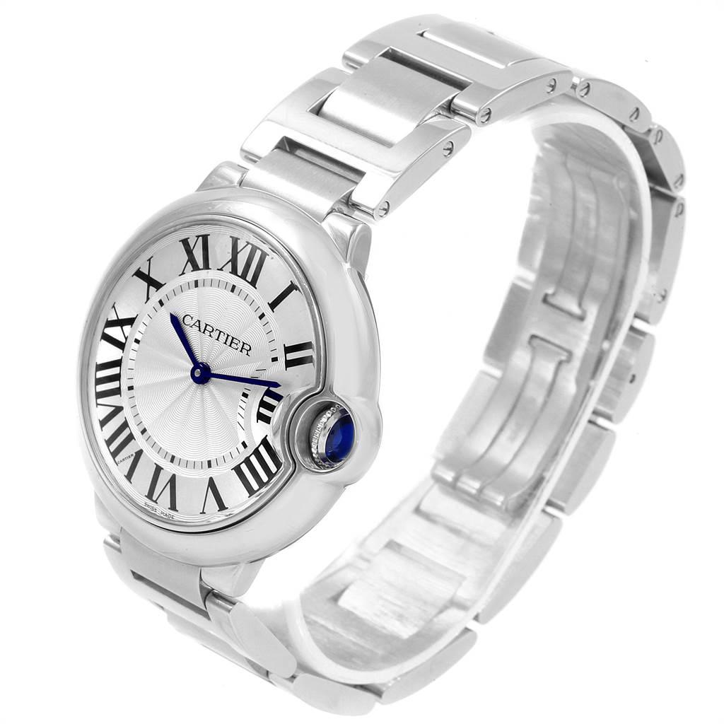 21693 Cartier Ballon Bleu 36 Midsize Silver Guilloche Dial Watch W69011Z4 SwissWatchExpo