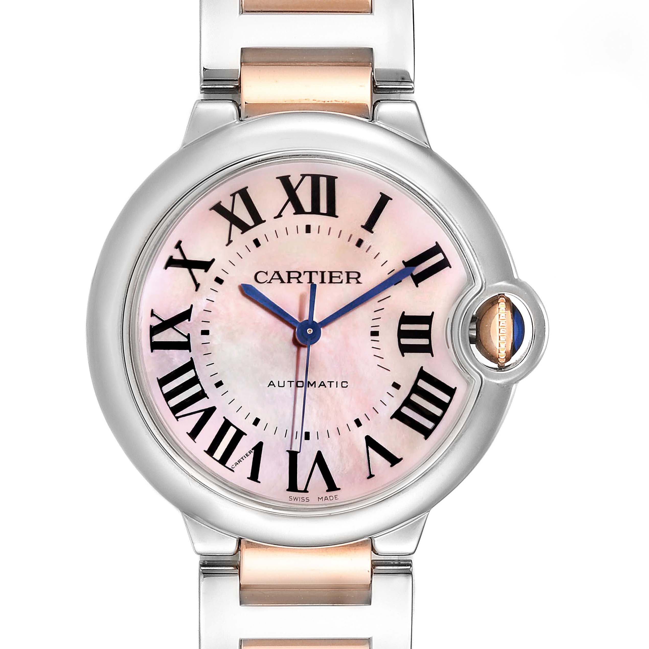 Cartier Ballon Bleu 36 Midsize Steel Rose Gold MOP Ladies Watch W2BB0011