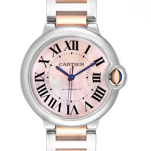 Photo of Cartier Ballon Bleu 36 Midsize Steel Rose Gold MOP Ladies Watch W2BB0011