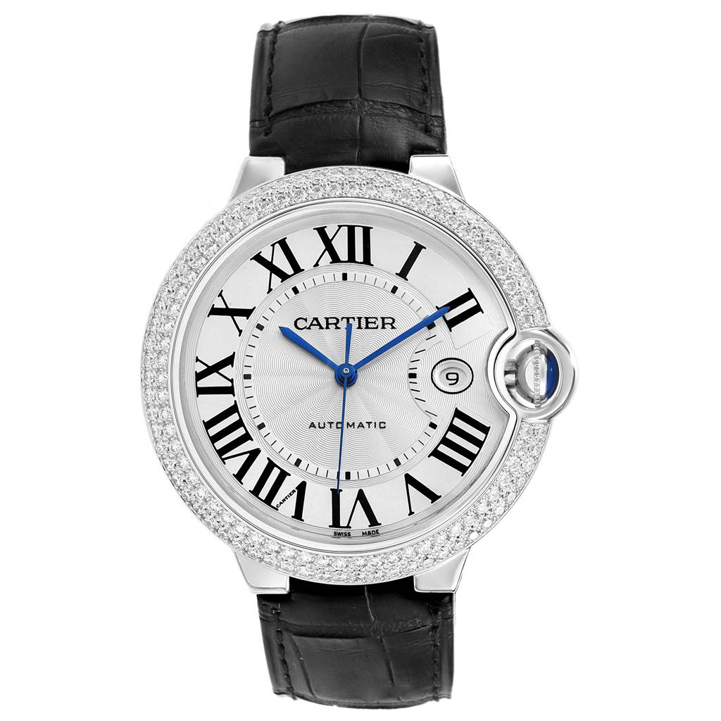 22580 Cartier Ballon Bleu 42 White Gold Diamond Unisex Watch WJBB0032 Unworn SwissWatchExpo