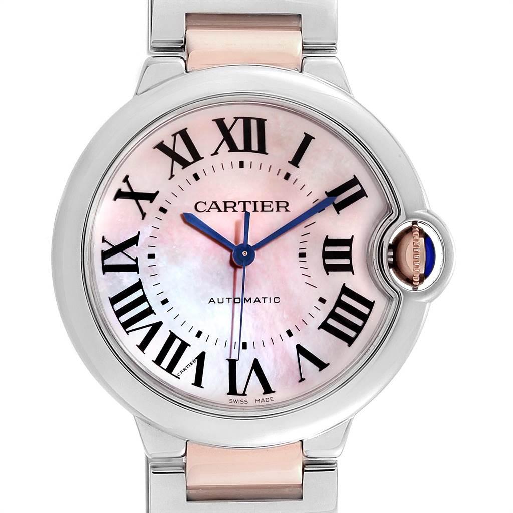 22713 Cartier Ballon Bleu 36 Midsize Steel Rose Gold MOP Ladies Watch W2BB0011 SwissWatchExpo