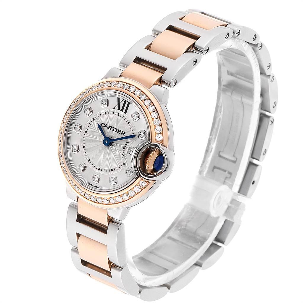 Cartier Ballon Blue Steel Rose Gold Diamond Ladies Watch WE902076 SwissWatchExpo