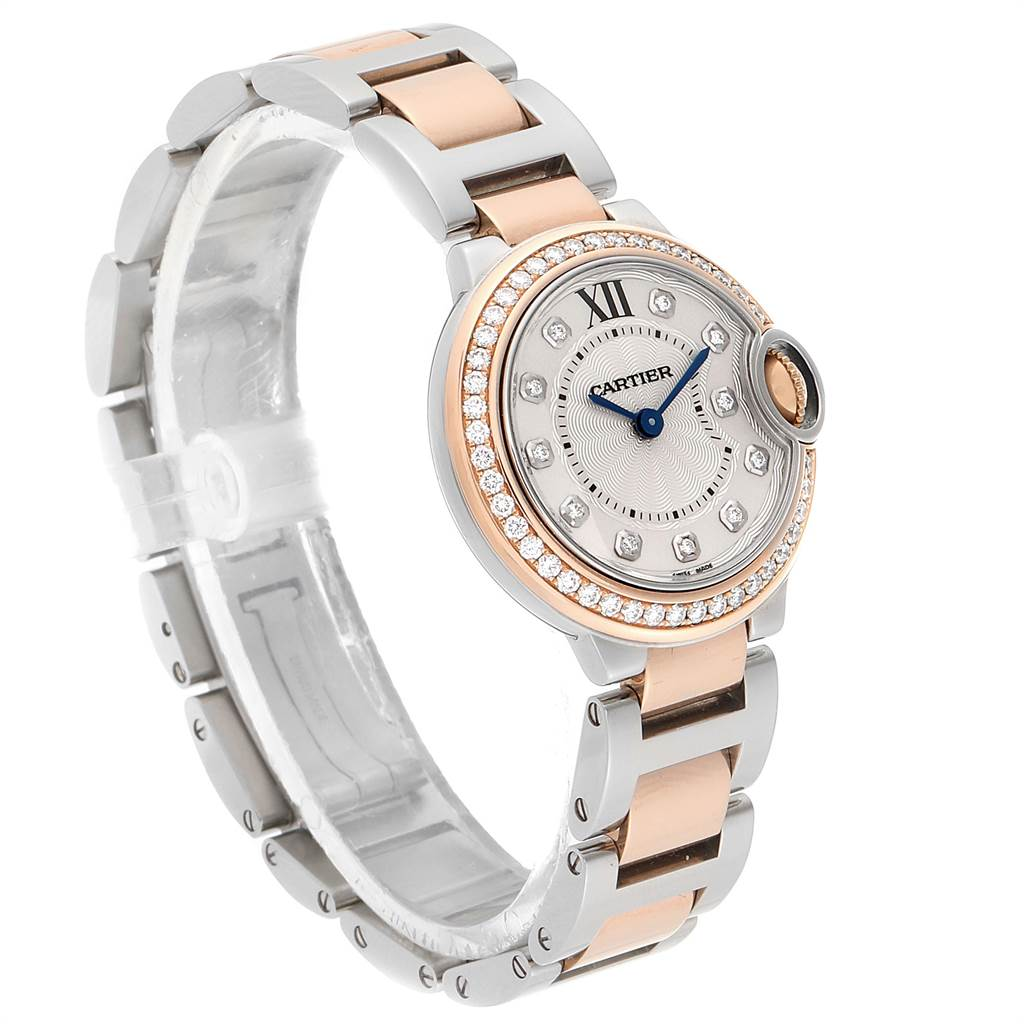 23376 Cartier Ballon Blue Steel Rose Gold Diamond Ladies Watch WE902076 SwissWatchExpo