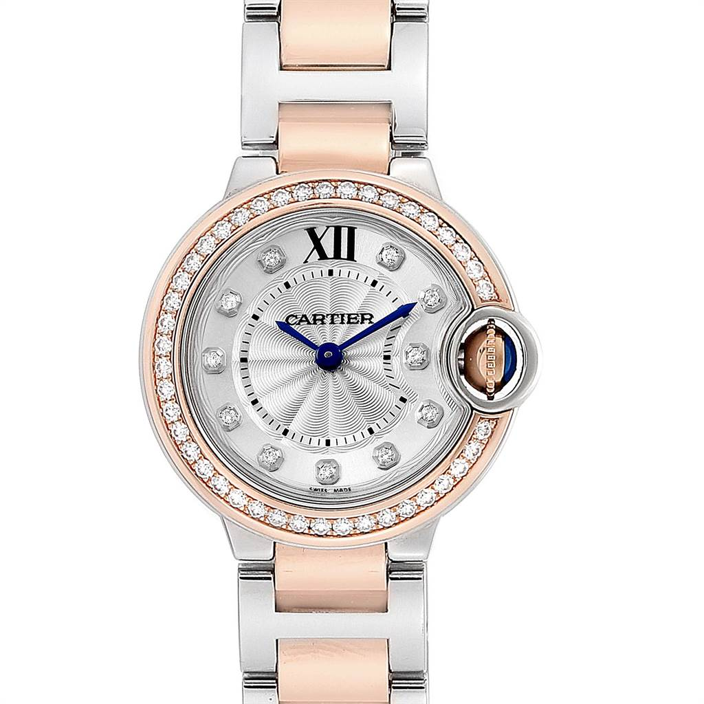 Cartier Ballon Bleu Steel Rose Gold Diamond Ladies Watch WE902076