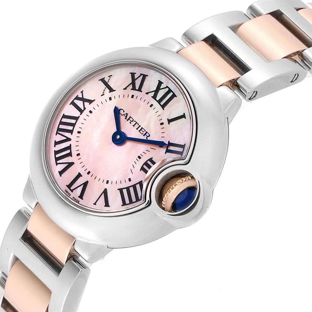 23256 Cartier Ballon Bleu Small Steel Rose Gold MOP Ladies Watch W6920034 SwissWatchExpo