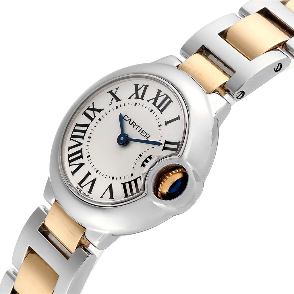 23436 Cartier Ballon Blue 28 Steel Yellow Gold Small Ladies Watch W69007Z3 SwissWatchExpo